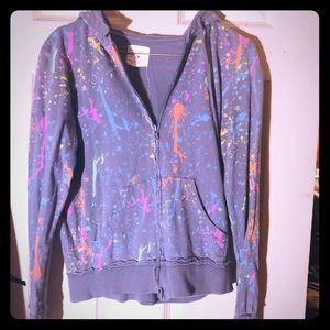 Paint splatter zip up hoodie